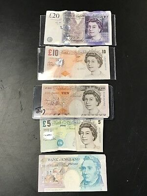 Bank Of England Notes 5, 10, 20 Pounds Various Years 50 Pounds Total