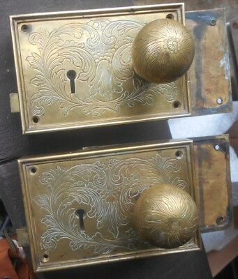 Antique Solid Brass Big Door Hardware Mortise Plates +Knobs Heavy Duty 6 Pounds