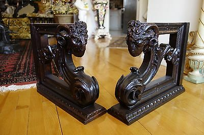 19C French Gothic Hand-Carved Oak Rams Head Corbels