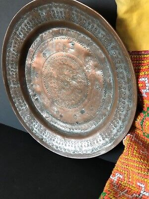 Old Turkish Handmade Copper Plate …beautiful collection / display piece