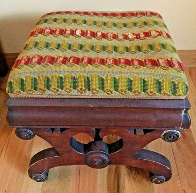 Antique Empire Foot Stool Cricket Bench Crewel Embroidery Top Original Finish R
