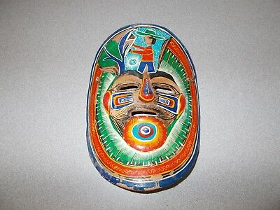 Mexican Terra Cotta Mask Clay Pottery Hand Painted Wall Hanging Vintage Folk Art