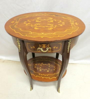 Antique Oval Inlaid French End Lamp Table Night Stand Brass Ormolu Louis XV XVI