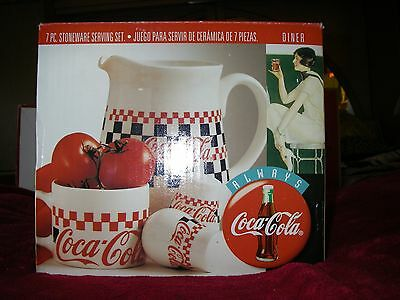 NIB Coca Cola 7 piece serving set 1996 COKE 42 oz pitcher / bowls/ salt & pepper