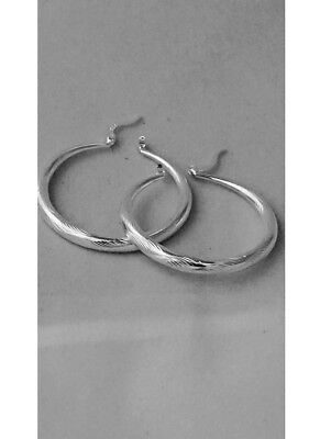Silver Hoop Earrings 925 Sterling Silver Plated Pierced Classic Fashion