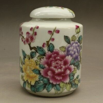 Chinese old hand-carved porcelain famille rose peony patterns tea caddy