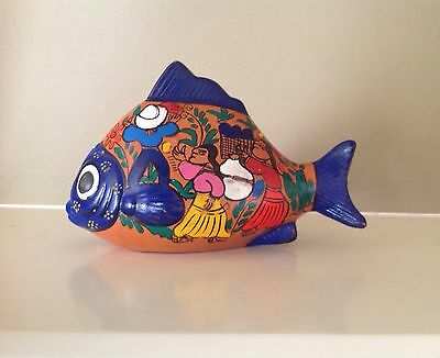 "Mexican Tonala Folk Art Terra Cotta Red Clay Hand Painted 7"" Fish Figurine Navy"