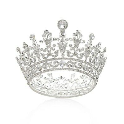 SWEETV Luxury Full Round Crystal Queen Crown Rhinestone Bridal Tiara Pageant ...