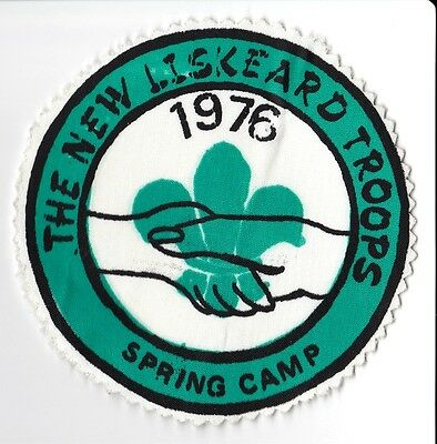 1976 New Liskeard Troops Scouts Ontario Canada Spring Camp Patch 4 in Dia. Good