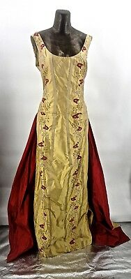 Elegant Couture Silk Embroidered Gown With Over Train Gallery of Wearable Art