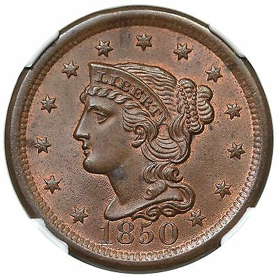1850 Braided Hair Large Cent, N-7, NGC MS64BN, part red