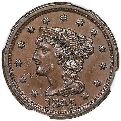 1845 Braided Hair Large Cent, N-2, NGC MS62BN
