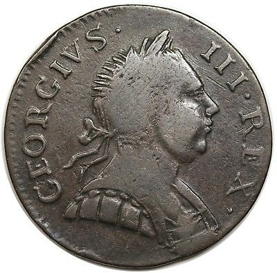 1772 Contemporary Non-Regal Great Britain Halfpenny, George III, nice VF