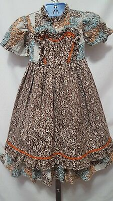 Vtg Toddler Girl Martha's Miniatures We're Fussy Prairie Maxi Apron Dress 2T