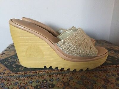 Vintage 70s 80s Cherokee Woven Wedges Heels Shoes Size 7 Like New! Deadstock