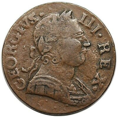 1775 Contemporary Non-Regal Great Britain Halfpenny, George III, choice VF