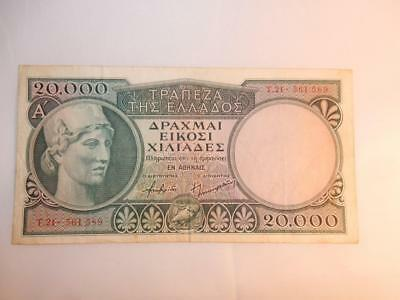 VINTAGE CURRENCY GREECE 20,000 APAXMAI DRACHMAI P-179a PAPER MONEY 1947 UNC