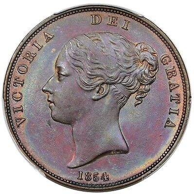 1854 Great Britain Penny, Victoria, Pl. Trident, PCGS MS63BN, beautifully toned