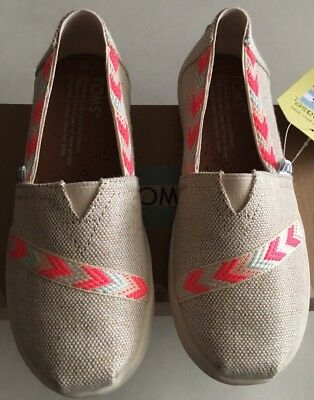 Toms Classic Metallic burlap slip-on Shoes youth Girl US Size 12,1,2,3,4 Natural