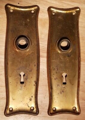 Antique Stamped Brass Door Knob Keyhole Plate Cover Escutcheon Pair Key salvage