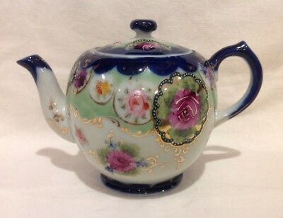 Vintage Porcelain Teapot Cobalt Blue & White With Hand Painted Flowers Roses