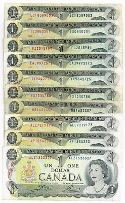 Lot Of Ten 1973 Canada One Dollar Notes