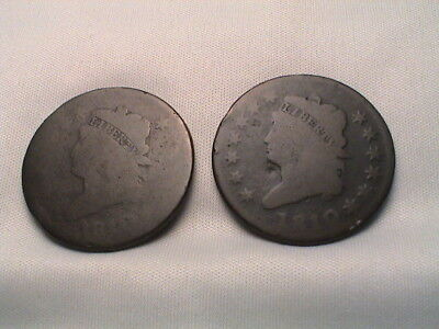 Pair of 1810  Classic Head Large Cents.