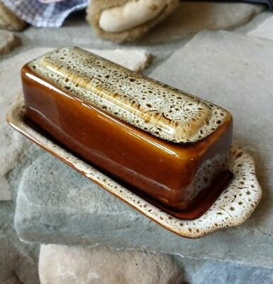 Vintage Brown Drip Glaze 2 Piece Covered Butter Dish Stoneware Pottery Ceramics