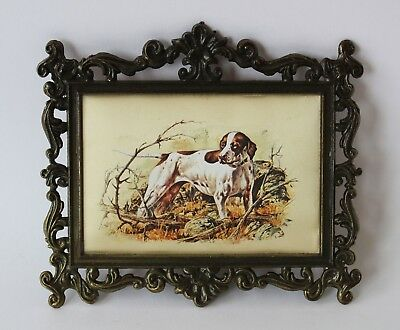 Vintage Rectangular SILK PRINT Picture/Wall Art ORNATE BRASS FRAME Hunting Dog