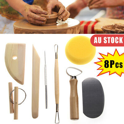 8 X Pottery Tool Set Clay Ceramics Shaper Molding Needle Cutter Loop Ribbon Kit