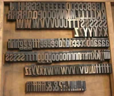 167 pc Old Letterpress Printers Wood Type Gothic Special Upper Case
