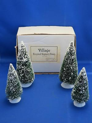 Set 4 SNOW VILLAGE FROSTED TOPIARY TREES Dept. 56 w/ Orig. Box 2 Sizes #5209-9