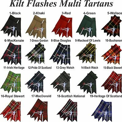 New Kilt Flashes, solid as well as Multi Colors, Irish, Khaki, and more.