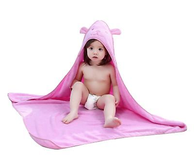 Hepix Pink Hooded Bath Towel for Kids, Soft and Super-Absorbent Bath Wrap wit...