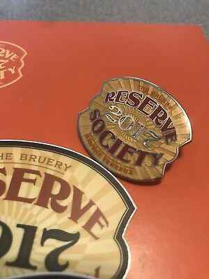 Bruery Reserve Society 2017 Pin Button Craft Beer RARE CA with Free Sticker