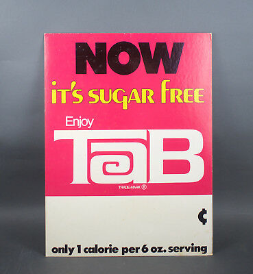 "VTG 1960s Original TAB SODA Cardboard Advertising Store Sign 23""x18"" Coca Cola"