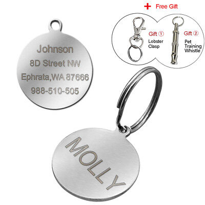 Round Stainless Steel Personalized Dog Tags Disc Pet Cat ID Collar Tag Engraved