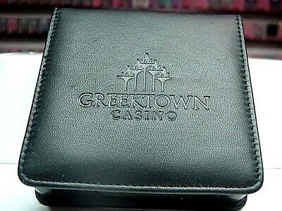 6 BRAND NEW Black Composite Drink Coasters W/Holder GREEKTOWN CASINO