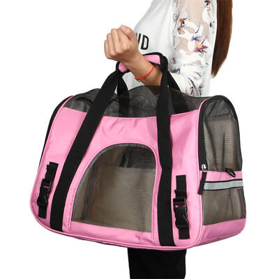 Large Pet Cat Dog Carrier Travel Tote Shoulder Bag Cage Crates Box Holder Pink