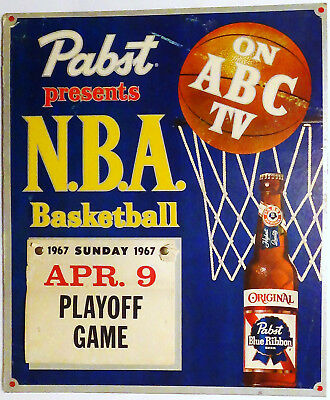 "1967 Pabst Blue Ribbon Beer Sign / NBA Basketball Calendar 18 3/16"" by 15 3/16"""