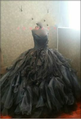 87540f95df65 2018 Victorian Gothic Ball Gown Wedding Dresses Black Tulle Bridal Gowns  Custom