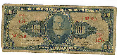 100 Cruzeiros Brazil Note Brasil Rough Shape Rare Note Free Shipping