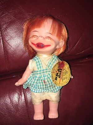 "Vintage Vinyl Rubber 7"" Brat Doll With Hang Tag Made In Japan"