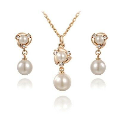 New Elegant Pearl Pendant Necklace Earrings Sets Bridal Wedding Jewelry Set
