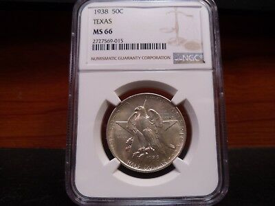1938 MS66 Texas Silver Commemorative NGC Certified Superb Gem