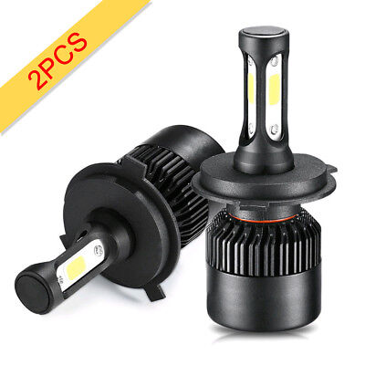 2Pcs COB H4 9003 72W 6500K 8000LM LED Car Headlight Kit Hi/Lo Beam Light Bulbs