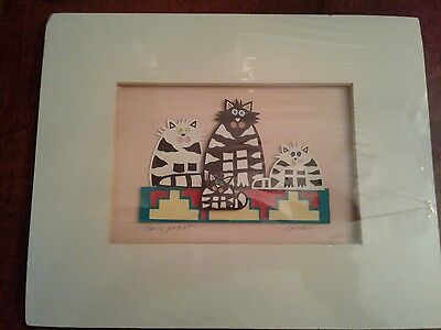 Original Hand Cut 'Family Portrait' Matted Cats Collage Hand Signed S. Nichols