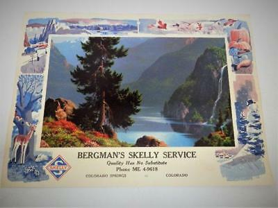 Vtg Bergman's SKELLY Service, Oil Gas Advertising Calendar Page Colorado Springs