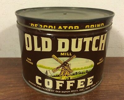 Vintage Old Dutch Coffee Tin Can Windmill Grocery New York NY Clean 1 Lb Keywind