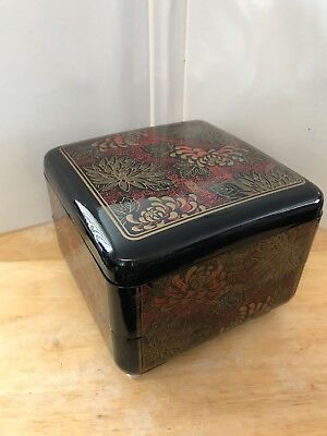 Vintage INTERPUR R.O.C. Lacquerware~ 2 Tier Stacking Box ~Jewelry Box~ Black Red